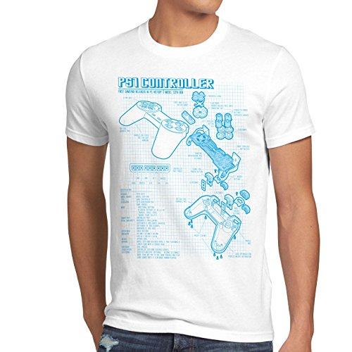 style3 PS1 Controller Blaupause Herren T-Shirt PS Gamepad Konsole Classic Gamer, Größe:S;Farbe:Weiß