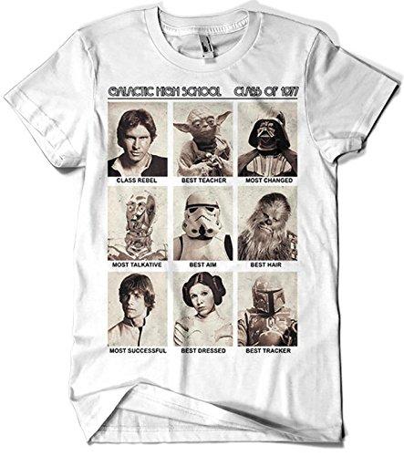 17-Camiseta SoftStyle Blanca Unisex Star Wars-Galactic High School (Blanca,M)