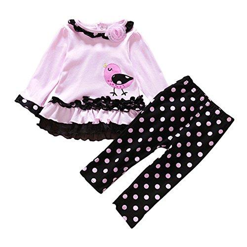 (Tiaobug Babykleidung Baby - Mädchen Bekleidung im Set mit Langarmshirt und Hose 80 86 92 98 Marineblau 80 (Herstellergröße:80))