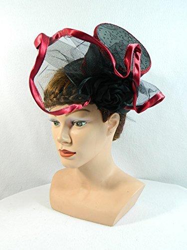 Midi Zylinder schwarz bordeaux Damenhut Fascinator Headpiece Hütchen (Taft Kleider Brautjungfer)