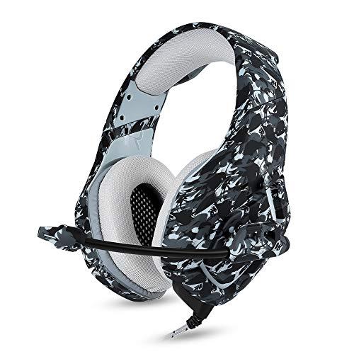 QAZX Gaming-Kopfhörer, Stereo, kabelgebunden, über Ohren mit Mikrofon zum Löschen von Geräuschen für Playstation Laptop Tablet Mobile.