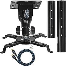 """Cheetah Mounts APMEB - Proyector para montaje en techo universal ( Incluye un poste de extensión ajustable de 27 """" y un cable HDMI de """"Twisted Veins""""de 15 """") Color negro"""