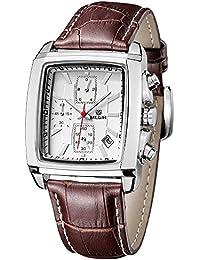 Megir Luxe - M2028GBN - Montre Homme - Quartz Analogique - Cadran Blanc - Bracelet Cuir Marron - Chronographe
