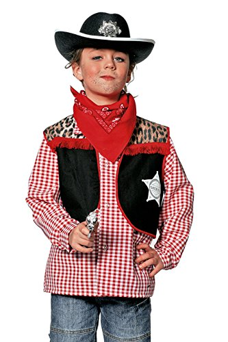 West Karneval Indian Kostüm - Jannes - Kinder Cowboy-Weste, Braun mit Fransen 152