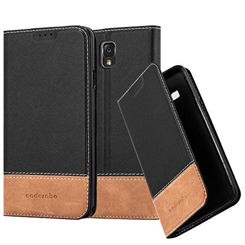 Cadorabo Hülle für Samsung Galaxy Note 3 - Hülle in SCHWARZ BRAUN - Handyhülle mit Standfunktion und Kartenfach aus Einer Kunstlederkombi - Case Cover Schutzhülle Etui Tasche Book