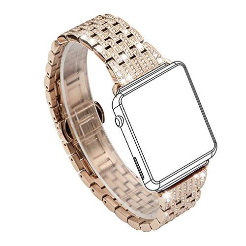 Für Apple Watch Armband, Wearlizer Edelstahl Metall iWatch Straps Ersatzband Uhrenarmband Wristband Zubehör mit Strass für Apple Watch Serie 1 und 2 38mm / 42mm -...