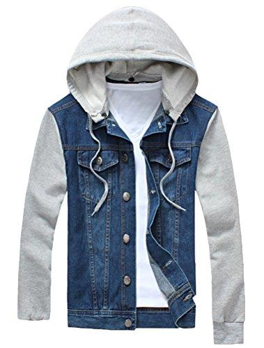 Vogstyle Herren Jungen Jeansjacke Kapuzenjacke Oversize Jacke Mantel Coats Hooded Denim Jacket Hellblau 44 (Blue Coat Jungen)