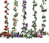 Efeu Girlande künstlich zu Aufhängen, Rose Blumen Blättern Girlande Deko in Rot Pink Lila Weiß/Grün Champagnerfarben