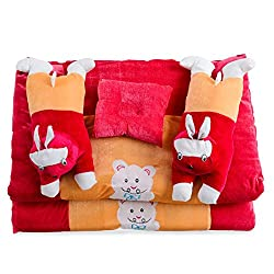 White Swan Rabbit Baby Meganta Velvet Rajai Set ( Age Group: 0-2 Years )