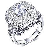 Aienid Damen Ring Hochzeit Bänder 18K Vergoldet Weiß Platz CZ Strass Größe 62 (19.7)