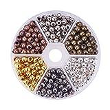 PandaHall Elite 6 Couleurs 5mm Perles Intercalaires en Fer Perles Espacees Rond Perles d'espacement pour la Fabrication des Bijoux...