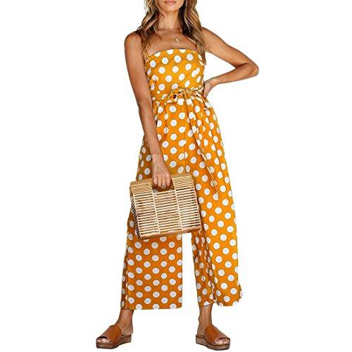 8ba3160eceb Shinekoo Women Holiday Playsuit Strap Sleeveless Off Shoulder Polka Dot  Long Wide Leg Boohoo Beach Jumpsuit