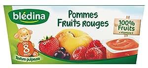 Blédina Coupelles de fruits Pomme Fruits Rouges dès 8 mois 4 x 100 g - Lot de 6 (24 coupelles)