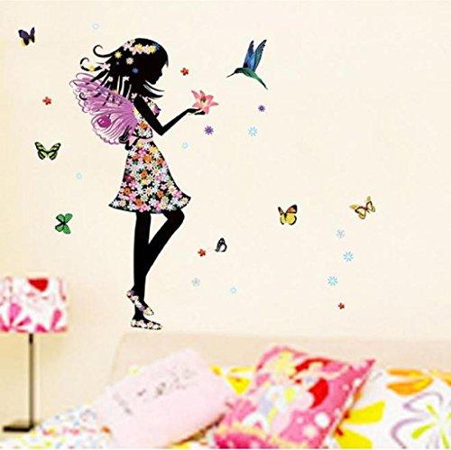 Vovotrade Ange ailes belle fille fleurs papillon fée DIY Stickers Muraux Amovibles Décoration d'intérieur (multicolore)