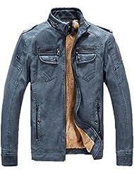 LQABW Collar De Los Hombres De Cuero De Moda Ocio Locomotor De La PU Cachemira Capa De La Chaqueta,Blue-XL