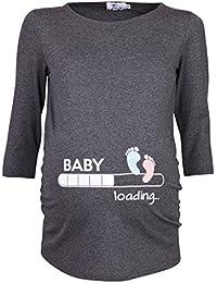 Happy Mama. Para Mujer Camiseta premamá estampado Baby Loading y Bebé pies. 549p