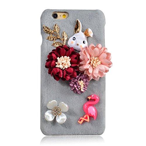 Coque iPhone 7, Lifetrut [Absorption des chocs] Sac à main noir décoré Fluffy Furry Snap Hard Case Retour Housse en peluche pour iPhone 7 [Sac à main noir] E202-Lapin aux fleurs