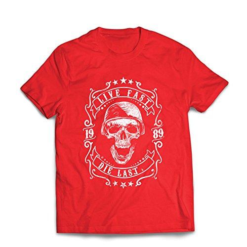 Maglietta da Uomo vivi Veloce - muori L'Ultimo - Citazioni in Bici, Abbigliamento Moto, Amore da Guidare, Ottimo Regalo per Motociclista (Medium Rosso Multicolore)
