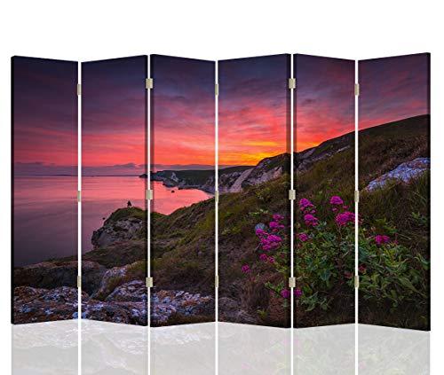 Pared Española Paisaje 6 Paneles Bilateral Flores Atardecer Multi 216