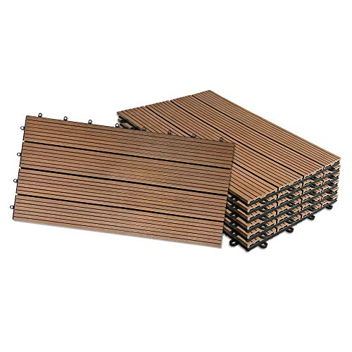 HENGMEI 12x Terrassenfliesen WPC 30x60cm Holz-Optik - Balkonfliesen Garten klick-Fliese Anthrazit mit Drainage (12er set,Braun)
