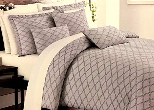 Nicole Miller 3-teiliges Luxus-Bettwäsche-Set, luxuriös, elegant, Grau auf Grau, 100% Baumwolle, gefärbt und gewebt -