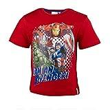 Purzelbaum Marvel The Avengers Kinder T-Shirt Aus Baumwolle, Kurzarm Shirt mit Iron Man/Hulk/Thor/Captain America für Jungen, Tshirt Farbe: Rot, Gr. 104