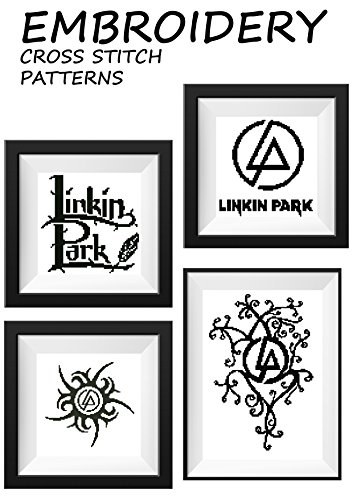 LP Linkin Park rock band 1 Rock music pattern embroidery cross stitch Black decorations for bedroom Music ornament illustration cross stitch Chester Bennington poster hand make gift for him or her