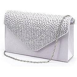Damen Diamant Abendtasche Frauen Handtasche Clutch Bag Party Envelope Bag Henkeltasche (Silber)
