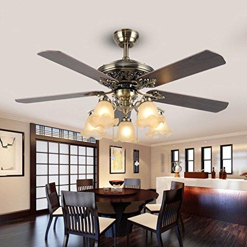 American Retro LED Fan Licht Traditionelle Industrielle Holz Blatt Deckenventilator Lampe Restaurant Schlafzimmer Wohnzimmer Fan Kronleuchter (Traditionellen Kronleuchter Den 4 Licht)