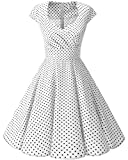 bbonlinedress 1950er Vintage Retro Cocktailkleid Rockabilly V-Ausschnitt Faltenrock White Small Black Dot M