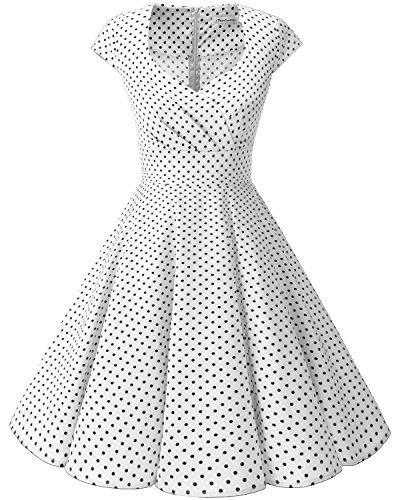 bbonlinedress 1950er Vintage Retro Cocktailkleid Rockabilly V-Ausschnitt Faltenrock White Small Black Dot 3XL