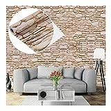 Carta da parati effetto pietra, mattone/autoadesiva da parete decorazione per mobili da salotto ufficio, beige