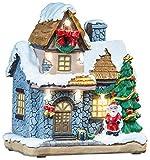 infactory Weihnachtsdorf: Deko-Weihnachtshaus mit Santa Claus, LED-Beleuchtung, Batteriebetrieb (Beleuchtete Weihnachtshäuser Deko)