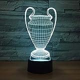 Mmzki Copa De Fútbol Trofeo Lámpara 7 Colores Cambiantes 3D Led Luz De La Noche Botón Táctil Usb Dormitorio Del Bebé Sueño Luminaria Dropship