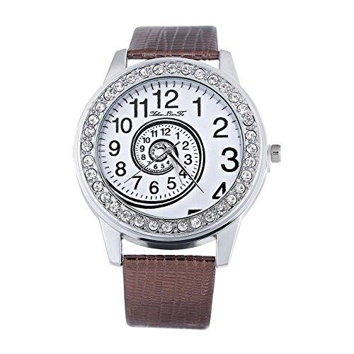 Montres pour les femmes, montre-bracelet analogue de quartz d'unité centrale de montre de quartz d'unité centrale de montre en cuir(Coffee)