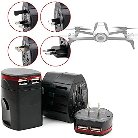 DURAGADGET Adaptador Internacional ¡4 en 1! Para Dron Archos Drone / Hubsan X4 FPV (H107D) - Con Doble Puerto USB - Compatible En Europa / UK / USA / Australia /
