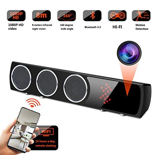 Altoparlante telecamera nascosta WiFi Wireless HiFi - Telecamera spia visione notturna IR Altoparlante potenziato Bass Videocamera di sorveglianza HD con rilevazione di movimento Cam Hi-Fi cam Nanny per la sicurezza domestica