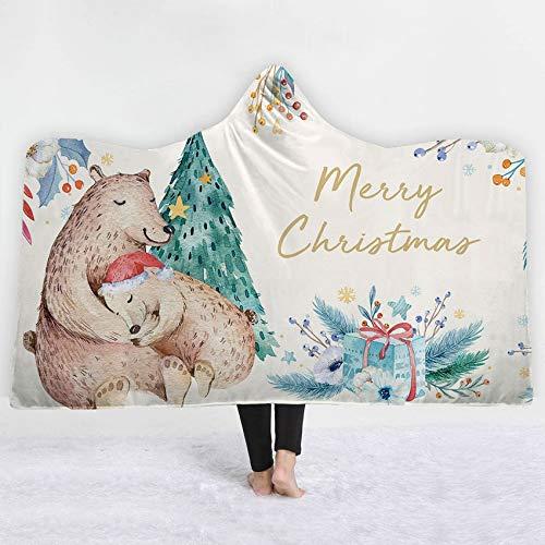 FimGGe Weihnachtsmuster Kapuzendecke Sherpa Fleece Mikrofaser Weiche Winterbettwäsche Bohemian Tragbare Decke Cobija Cobertor-130cm * 150cm