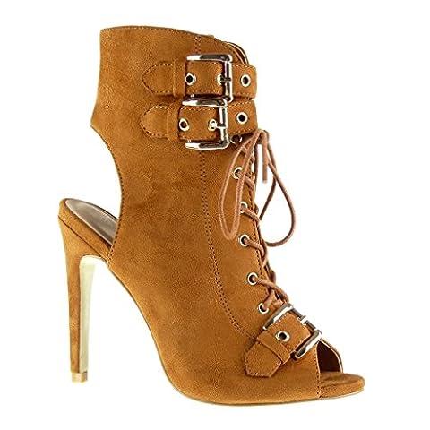 Angkorly - damen Schuhe Stiefeletten Sandalen - Stiletto - Offen - String Tanga - Schleife - Spitze Stiletto high heel 12 CM - Camel AF-756 T