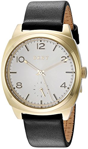 DKNY Women's 36mm Black Leather Band Steel Case Quartz Silver-Tone Dial Analog Watch NY2537