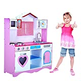 Panana Large Girls Boys Kids Pink Wooden Play Kitchen Role Play Pretend Toy Furniture