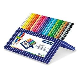 Staedtler 157 SB24 Ergosoft Triangular Colouring Pencils - Assorted Colours, Pack of 24