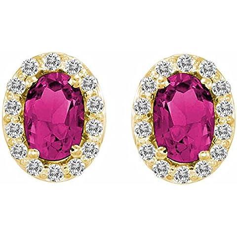 Ryan Jonathan tormalina rosa e diamanti Orecchini in oro giallo 14K