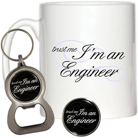 Trust Me I 'm un ingeniero 10oz taza, Pin & Llavero y abridor de botellas