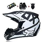 Kuccy Casque Motocross, Cross Adulte Helmet XR-991 Tout-Terrain Protection Sport de Moto Bicyclette pour La Sécurité VTT Off-Road Full Face Casques avec des Gants Masque Lunettes,L
