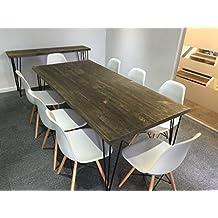 Mesa de comedor, industrial, patas de alfiler, Mike (Brown/Green)-Matt Black (powder coated), 6 seater W150xD75xH75cm