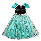 NICE SPORT Robes Enfant Princesse Anna La Reine des Neiges Cosplay Costume Déguisement Cadeau Anniversaire/Noël/Carnaval/Halloween - Bleu - Taille 130cm (5-6 ans)