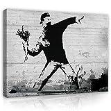 Banksy Rage Flower Thrower Leinwand Bilder (PP2085O1FW) - Wallsticker Warehouse - Size O1 - 100cm x 75cm - 230g/m2 Canvas - 1 Piece