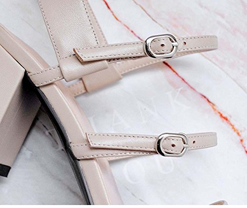 NobS Boucle de ceinture en cuir à bout ouvert Mary Jane Sandales à talons hauts Chaussures à talons Sandales à talons apricot