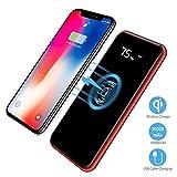 Wireless Power Bank,2 in 1 Kabellos Qi-Ladegerät und 10000mAh Powerbank für Samsung Galaxy Note 8/S8/S8 Plus/iPhone 8/8 Plus/X und alle Qi-fähigen Geräte Andere Micro-USB-Geräte (Rot)